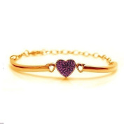 Kids Bracelet- Amethyst Clored Crystal Heart Yellow Gold Toned Plated Bangle