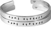 Soul Sisters - Hand Stamped Aluminium Cuff Bracelets Set Handwritten Forever L...