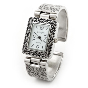 Silver Metal Western Style Decorated Rectangle Face Women's Bangle Cuff Watch