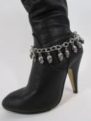 Women Fashion Boot Chain Bracelet Strap Silver Metal Shoe Mini Skull Charm Bling