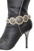 Women Western Boot Bracelet Metal Chain Shoe Silver Charm Beige Suede Leather