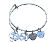 50th Birthday Gifts for Women, 50th Birthday Expandable Charm Bracelet, Adjustable Bangle, Perfect 50th Birthday Gift Ideas