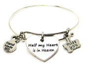 Half My Heart Is In Heaven Heart Expandable Bangle Bracelet, Fits 19cm wrist, Chubby Chico Charms Exclusive