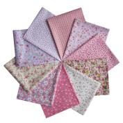 Grannycrafts 10pcs 40x50cm Fat Quarters Top Cotton Printed Craft Fabric Bundle Squares Patchwork Lint Print Cloth Fabric Tissue DIY Sewing Scrapbooking Quilting Pink Series
