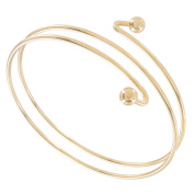Double Spiral Gold Tone Metal Upper Arm Bracelet Ball End USA Made