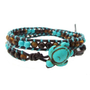 AeraVida Ocean Sea Turtle Tiger's Eye and Reconstructed Turquoise Double Wrap Leather Bracelet