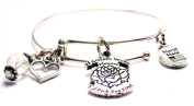If Sisters Were Flowers I'd Pick You First Expandable Bangle Bracelet, Fits 19cm wrist, Chubby Chico Charms Exclusive