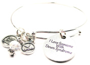 I Love Someone With Down Syndrome Expandable Bangle Bracelet, Fits 19cm wrist, Chubby Chico Charms Exclusive