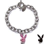 Playboy Bracelet Pink Enamel Bunny Charm Crystals Toggle Playmate RARE