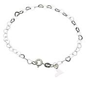 Sterling Silver Flat Heart Link Charm Bracelet Nickel Free Chain Italy, 19cm