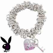 Playboy Bracelet Bunny Heart Key Charms Pink Crystals Stretch Playmate