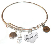 """Hidden Hollow Beads """"Flower Girl"""" Message Charm Expandable Wire Bangle Bracelet, COMES IN A GIFT BOX!"""