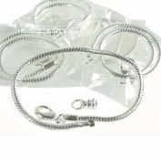 "5 Pack 8"" Bracelet Snake Chain Fits Pandora Chamilia Troll Biagi, Loose Beads, Fits 3.5mm Holes"