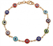 Two Year Warranty Gold Overlay with Colourful Mini Evil Eye Style 19cm Clasp Bracelet