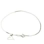 Sterling Silver Heart Charm Serpentine Nickel Free Chain Bracelet Italy, 19cm