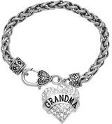 """Grandma"" Crystal Heart Bracelet, Safe-Hypoallergenic, Nickel, Lead, & Cadmium Free!"