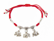 Red Bracelet with 3 Elephant Charms