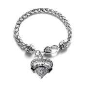 Vegas Strong Cityscape Pave Heart Charm Bracelet