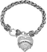 """Postal Worker"" Crystal Heart Bracelet, Safe-Hypoallergenic, Nickel, Lead, & Cadmium Free!"