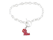 Ole Miss Rebels Mississippi Iridescent Silver Toggle Red Bracelet Jewellery UM