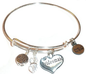 """Hidden Hollow Beads """"Bridesmaid"""" Message Charm Expandable Wire Bangle Bracelet, COMES IN A GIFT BOX!"""