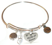 """Hidden Hollow Beads """"Maid of Honour"""" Message Charm Expandable Wire Bangle Bracelet, COMES IN A GIFT BOX!"""