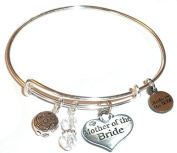 """Hidden Hollow Beads """"Mother of the Bride"""" Message Charm Expandable Wire Bangle Bracelet, COMES IN A GIFT BOX!"""