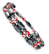 Fashion Jewellery Magnetic Hematite Evil Eye Wrap Bracelet Anklet - Men Women