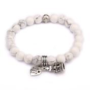 Beads Bracelet,UHIBROS Crown Heart Pendant Unisex Elastic Stretch Beaded Bracelet,Natural Agate Lava Rock Bangle