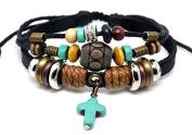 Leather Cross Bracelet Christian Jesus Religious Jewellery