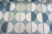 Shoreditch Retro French Blue White & Grey Cotton Designer Material Sewing Upholstery Curtain Craft Fabric