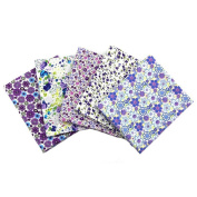 RainBabe Cotton Poplin Fabric Quarter Bundle Patchwork Quilting Fabric 5Pcs