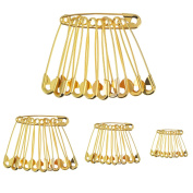 300 Pieces Heavy Duty Gold Safety Pins with 4 Sizes (19 mm, 28 mm, 38 mm, 50 mm) for Blanket Skirts Crafts Sewing