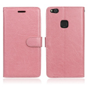 Huawei P10 lite Case,Huawei P10 lite Cover,[Retro Vintage] Slim PU Leather Wallet Case Purse Protective Cover for Huawei P10 lite,BONROY® Premium Folio Case with Stand Card Holders Slot [Magnetic Closure] Flip Book Case For Huawei P10 lite - Pink