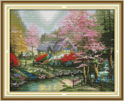 Chreey Countryside Scenery Series (3) - The Streamside Cottage Cross Stitch Fashion Crafts Home Art Decoration [44x35cm]