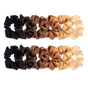 12 Pieces Satin Hair Scrunchies Elastic Hair Bobbles Scrunchies Hair Ties for Kids Adults, 6 Colours
