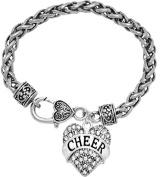 """Cheer"" Crystal Heart Bracelet, Safe-Hypoallergenic, Nickel, Lead, & Cadmium Free!"