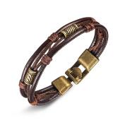 Leather Wrist,UHIBROS Mens Vintage Band Brown Rope Bracelet Bangle 22cm