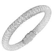Stainless Steel Multicolor CZ Mesh Bracelet