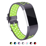 For Fitbit Charge 2 Strap Bands, Mornex Soft TPU Sports Wristbands Bracelet Replacement Straps with Breathable Holes, Adjustable Watchband for Fitbit Charge 2