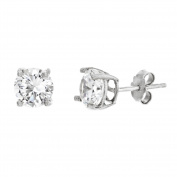 18K White Gold Sterling Silver Round 4-Prong Cubic Zirconia Post Earrings
