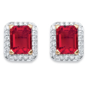 .36 TCW Emerald-Cut Simulated Red Ruby and Cubic Zirconia Stud Earrings 18k Yellow Gold-Plated
