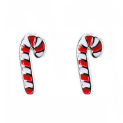 Children's Sterling Silver and Enamel Candy Cane Earrings