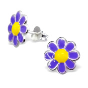 Colourful Children's Sterling Silver and Bright Purple Enamel Chamomile Stud Earrings