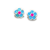 Children's Blue and Pink Flower Earrings in Sterling Silver