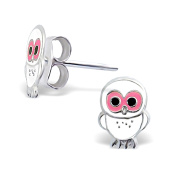 Children's White and Pink Owl Earrings in Sterling Silver
