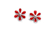 Sterling Silver and Red Enamel Stud Earrings in a Daisy Design