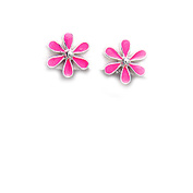 Sterling Silver and Pink Enamel Stud Earrings in a Daisy Design