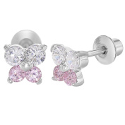 Rhodium Plated Tiny Butterfly Pink and Clear Crystal Screw Back Girl Earrings