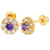 18k Yellow Gold Plated Purple Crystal Flower Screw Back Baby Girls Earrings 6mm
